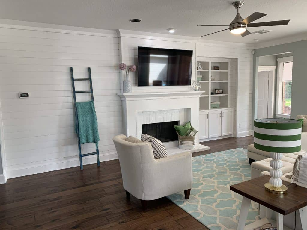 Adding A Shiplap Feature Wall To Living Room Thetarnishedjewelblog