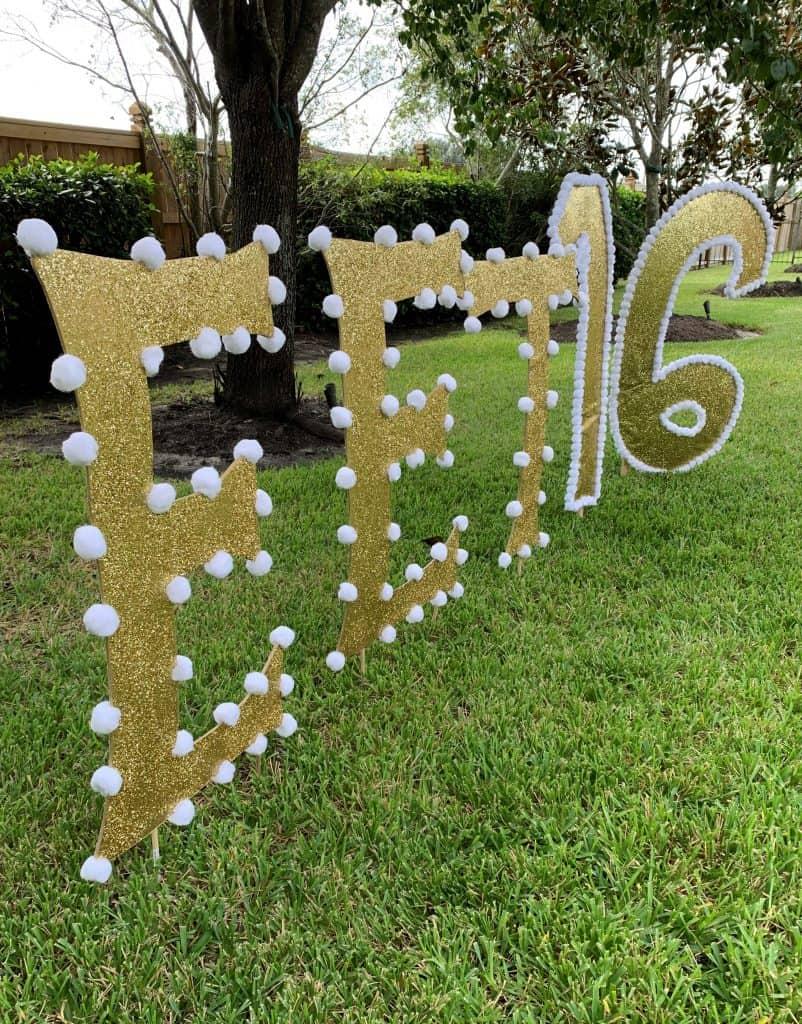 Diy Gold Glitter Yard Letters Sweet 16 Birthday Ideas Thetarnishedjewelblog