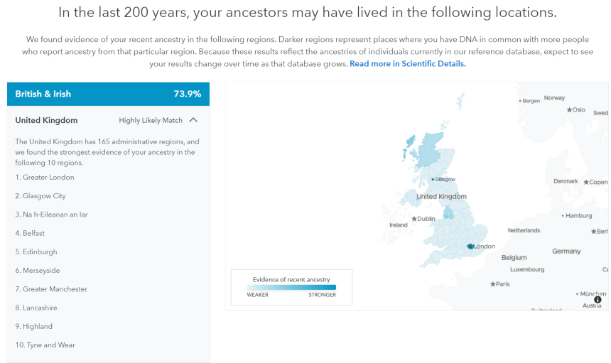 Screenshot of 23andMe and my UK heritage.