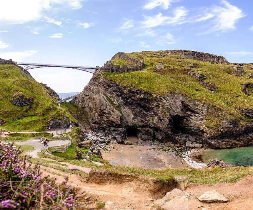 Cornwall coast including Tintagel Castle with footbridge