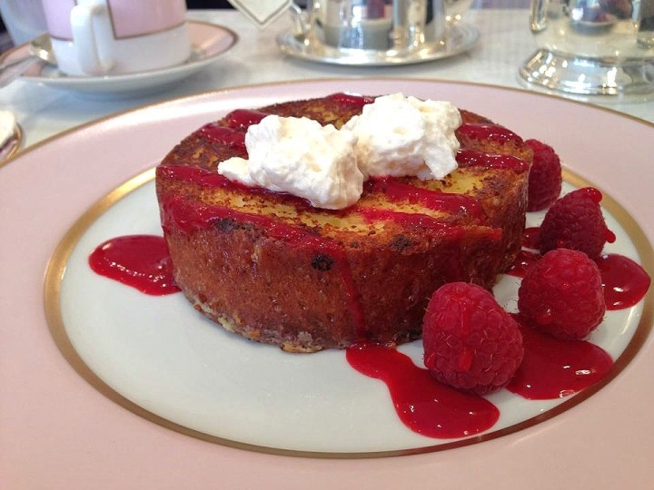 French Toast, Rose Cream & Raspberries