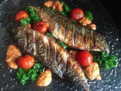 Mackerel, Tomatoes and Kale