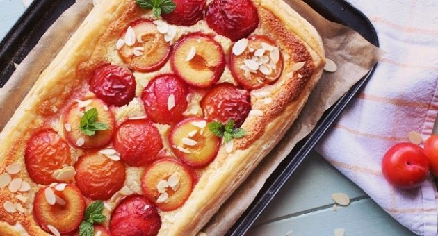 Plum & almond tart