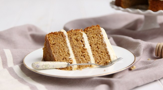 Roasted Butternut Squash Cake Recipe with Goats Cheese Icing and Honeyed Walnuts by Cove Cake Design