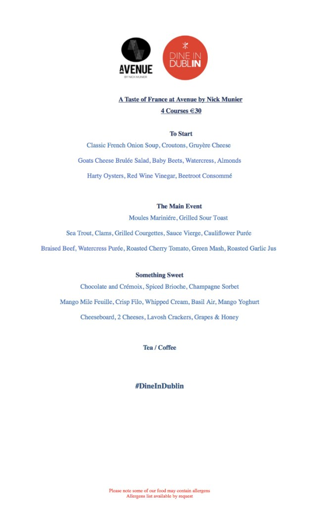 Dine In Dublin Avenue By Nick Munier 4 Course Dinner