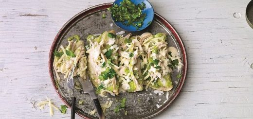 Green Chicken Enchiladas Recipe by Leslie Tallez