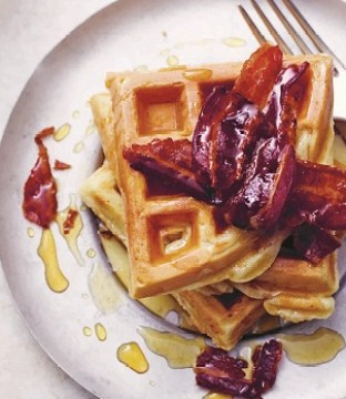 Old-Fashioned Waffles Recipe with Maple Bacon from Made in the USA Cookbook