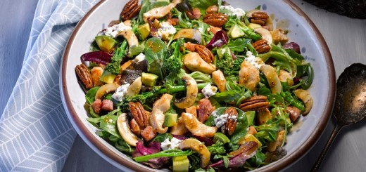 Chicken and Bacon Salad Recipe with Roasted Broccoli and Mushrooms
