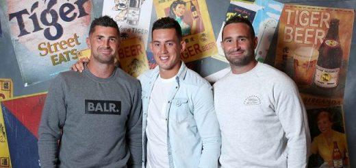 Rob Kearney, Noel Reid and Dave Kearney Tiger Street Eats Pic: Marc O'Sullivan
