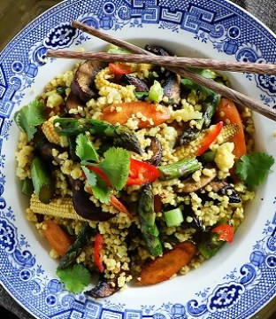 Chinese Fried Millet Recipe from The Tiny Vegan Kitchen