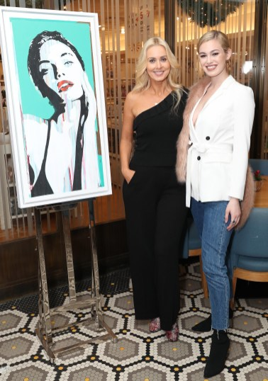 """Ursula Kelly and Caoimhe O'Dwyer photographed at the 'Culinaire and Arts' event on Thursday 9th November at The Restaurant by Johnnie Cooke in Brown Thomas Dublin celebrating art, exquisite food and Hennessy. The event also showcased an exhibition of six new """"iconic super model faces"""" by Irish artist Duda whose art is characterized by his appreciation for beauty, combined with his own take on modern day life & pop culture. Pic: Marc O'Sullivan"""
