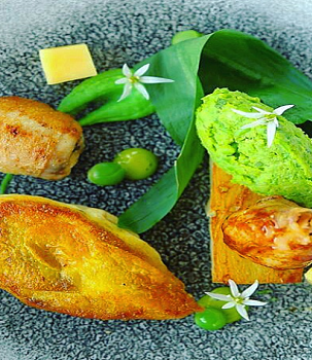 Breast and Leg of Poussin Recipe with Wild Garlic by Chef Colin McKee at Harvey's Point