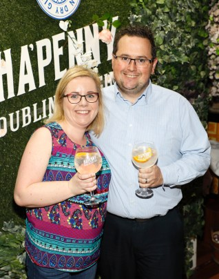 Janice and Wayne Dunne at the launch of the Ha'penny Spirits range, including Ha'penny Dublin Dry Gin, Ha'penny Rhubarb Gin and Ha'penny Whiskey, in the Gin Palace, Dublin.photo Kieran Harnett no repro fee