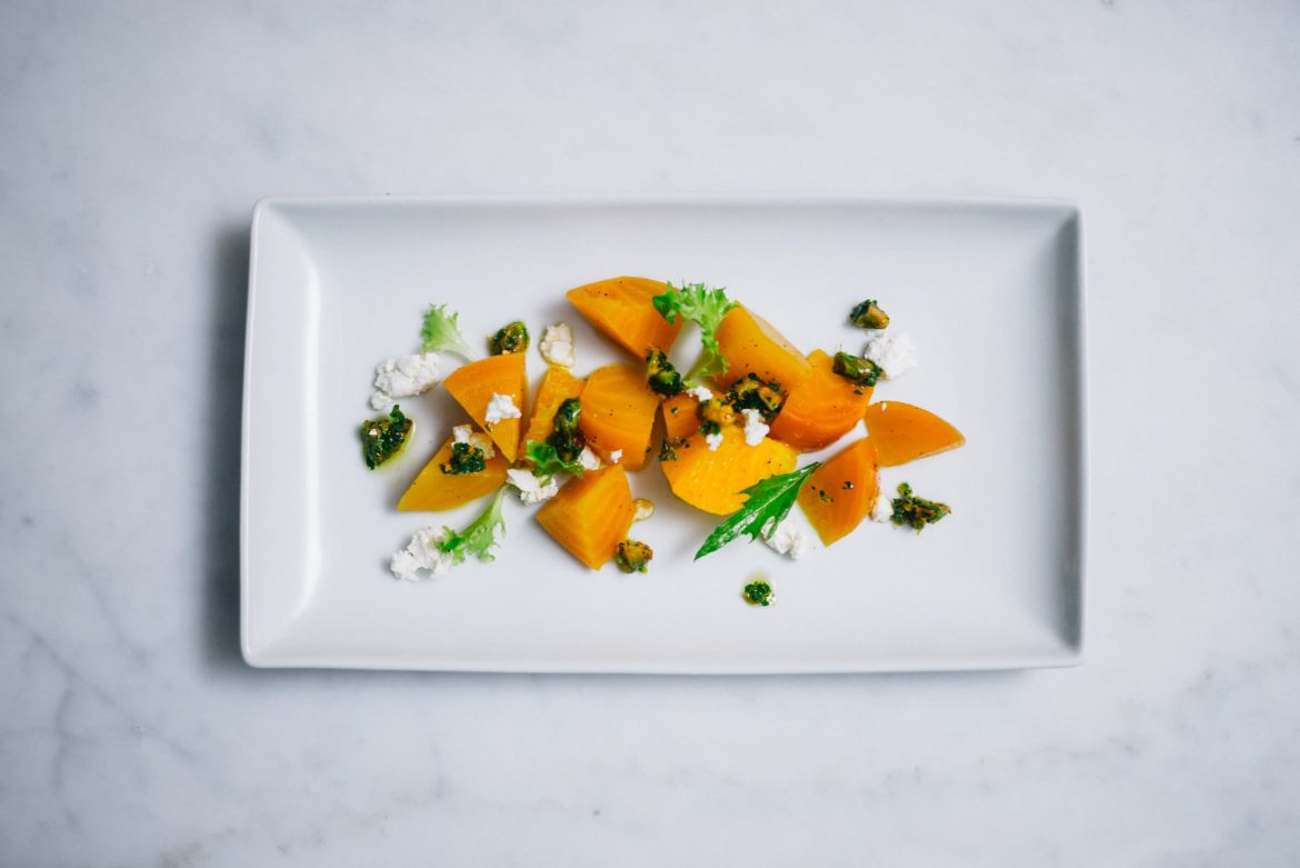 Golden Pickled Beets with Goat Cheese Salad With Pistachios made by The Taste Edit