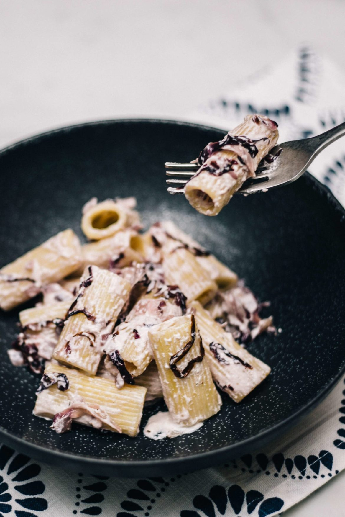 This pasta uses ricotta to make a simple, creamy sauce along with raddicio makes an easy pasta recipe from The Taste Edit