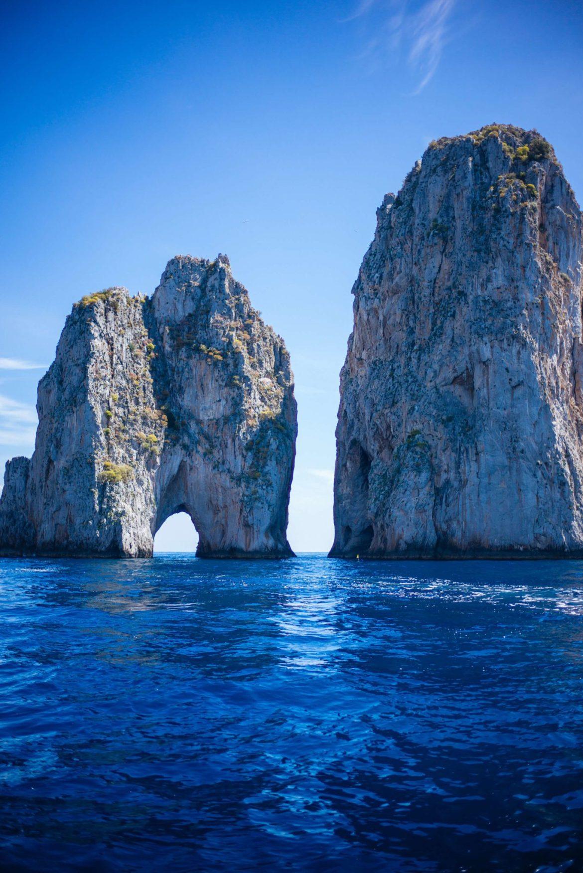 Faraglioni of Capri Italy is directly across from La Fontinella, The Taste Edit