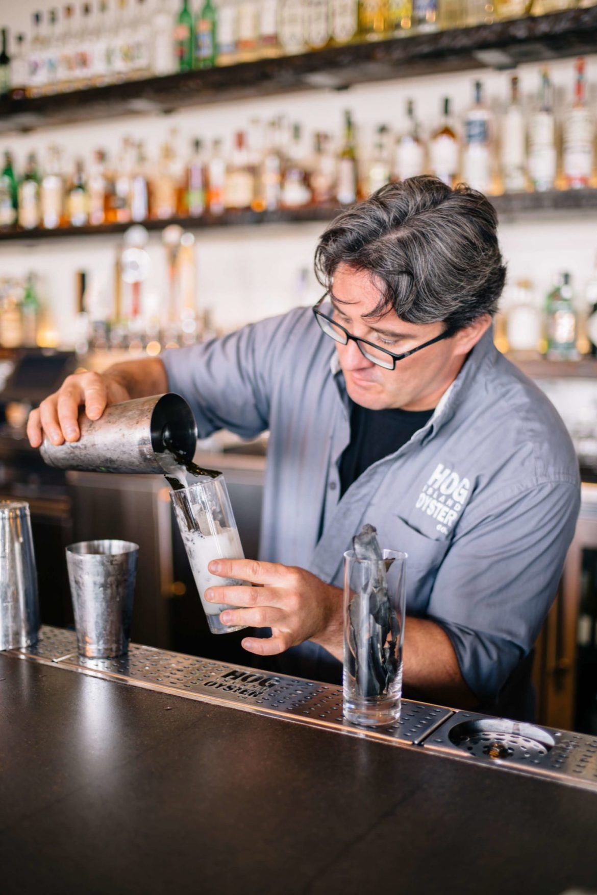 The Taste Edit loves to make the Hog Island Sea collins cocktail from San Francisco with Sea Gin, lime and seaweed.