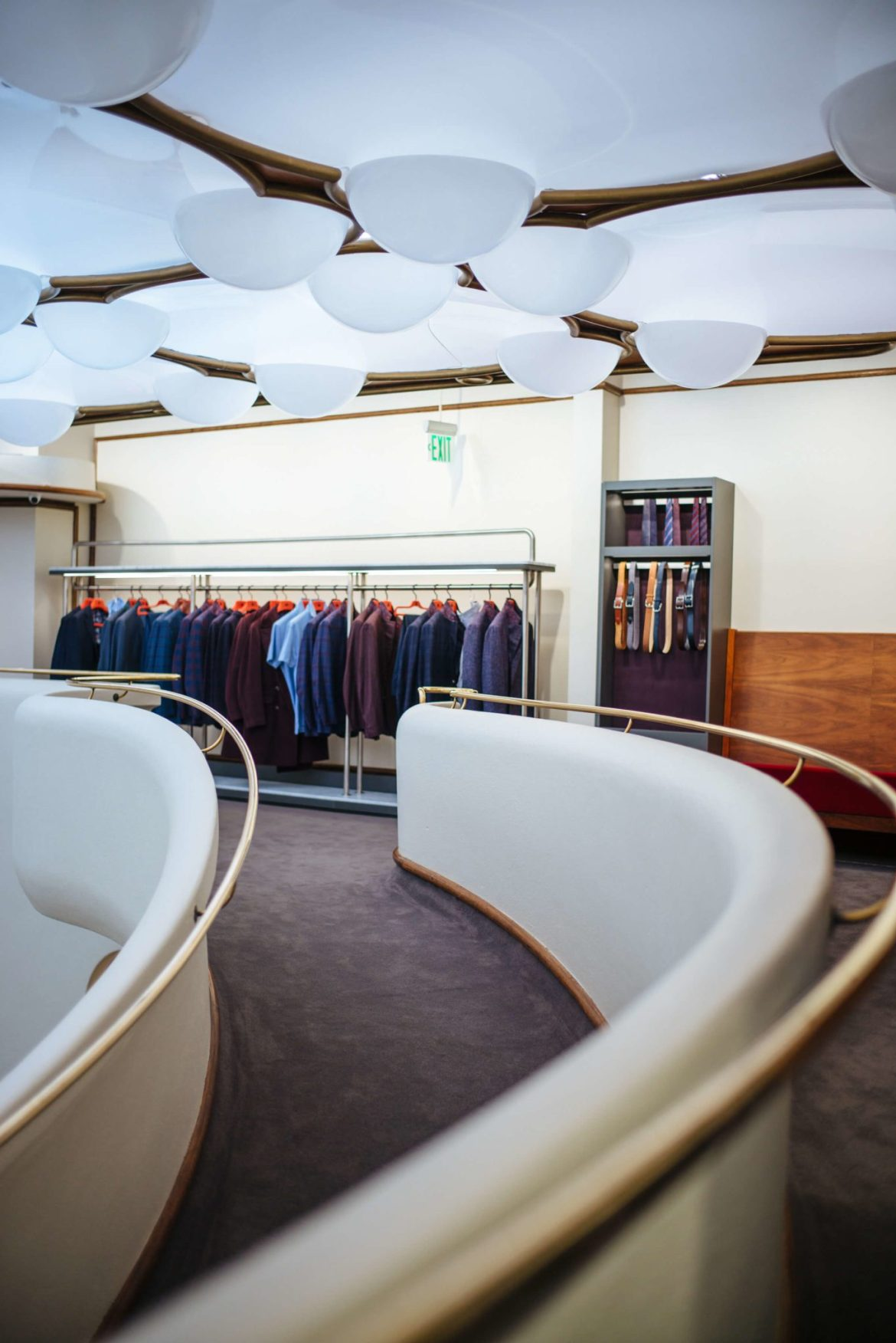 Spiral staircase at Isaia San Francisco Store, Neapolitan Isaia suits in the historic VC Morris Frank Lloyd Wright San Francisco, The Taste Edit