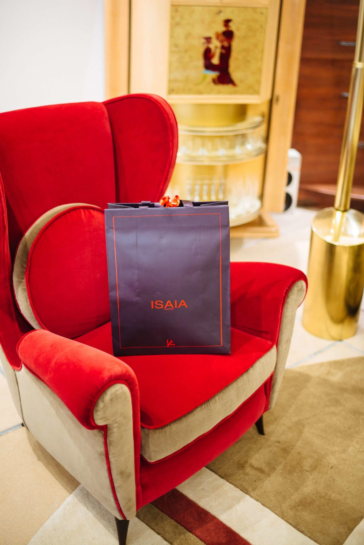 Italian chair in the Lounge at Isaia San Francisco Store, Neapolitan Isaia suits in the historic VC Morris Frank Lloyd Wright San Francisco, The Taste Edit