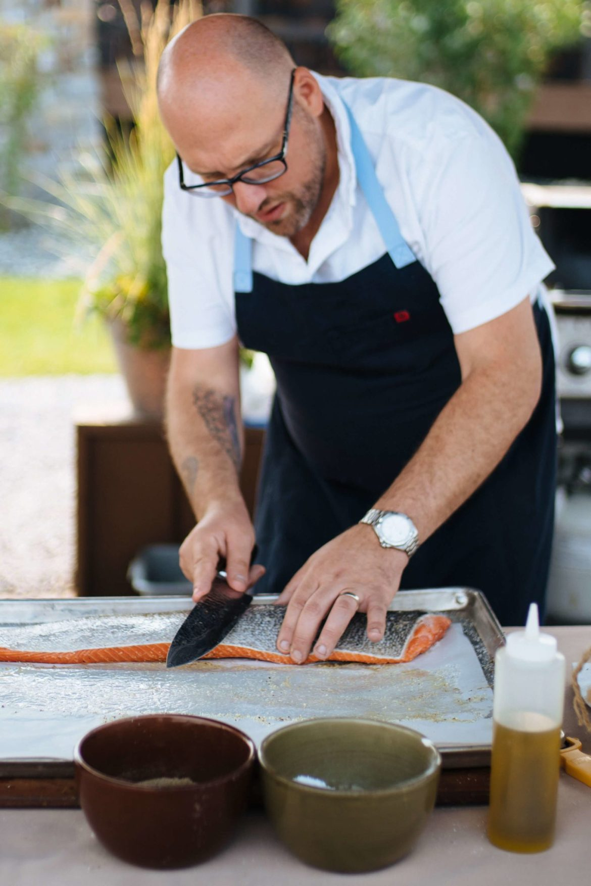 How to grill salmon, score the skin of the salmon for a crispy fish skin, the resort at paws up, montana glamping, cookbook live, greg denton OX restaurant Portland, The Taste Edit