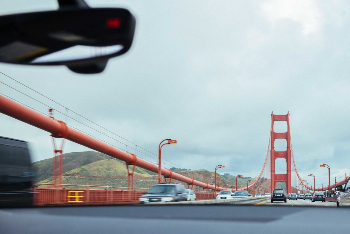 The Taste Edit drives over the golden gate bridge on a day trip out of the city.