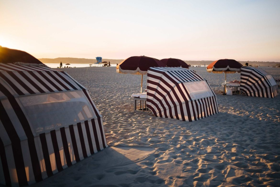 Relax on the beach in San Diego in a cabana at Hotel Del Coronado