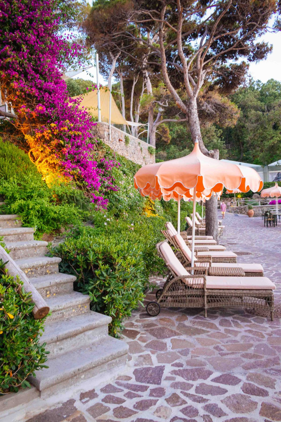 Find a tulip umbrella at the Mezzatorre Hotel in Ischia to sit under day or night. Photo by The Taste Edit, Sarah Stanfield