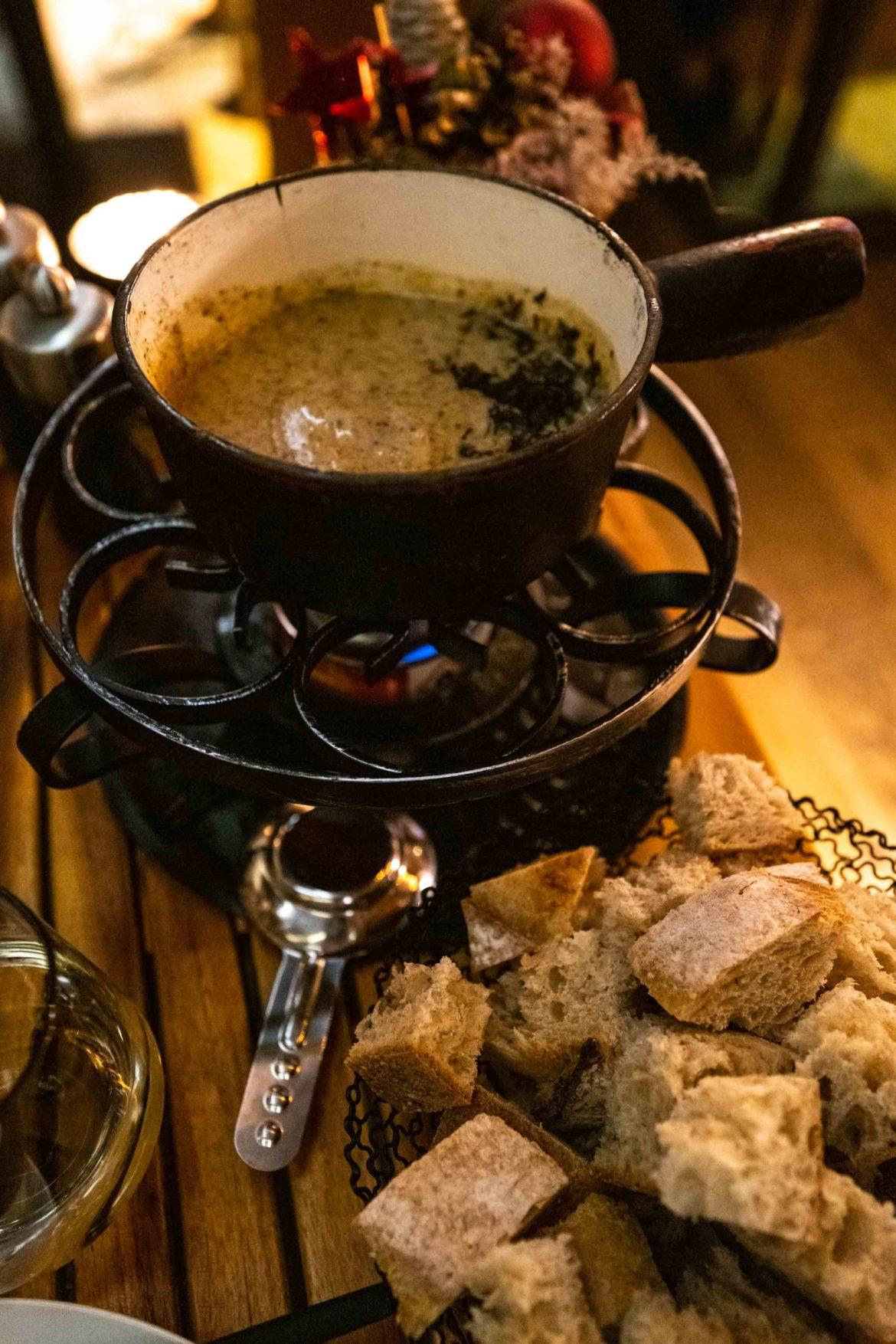 Truffle fondue at Le Carnotzet restaurant at the Crans Ambassador Hotel in Crans Montana, Switzerland. By The Taste Edit #fondue #hotel
