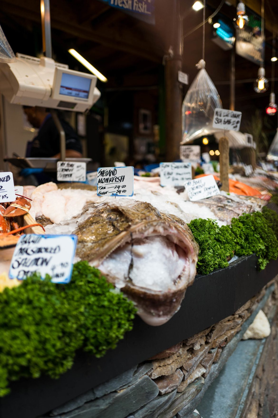 You'll find amazing fish like this monkfish in London's Borough Market. Use The Taste Edit's guide to the market #London #travel #foodie