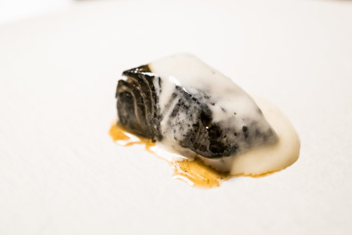Smoked black cod at Le Pavillon by Jean Charles Métayer in Athens, Greece