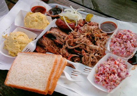Potato Salad, Brisket, Pulled Pork, Sausage, Cole Slaw