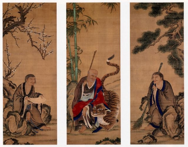 Fenggan (left) Hanshan (center) Shide (right)
