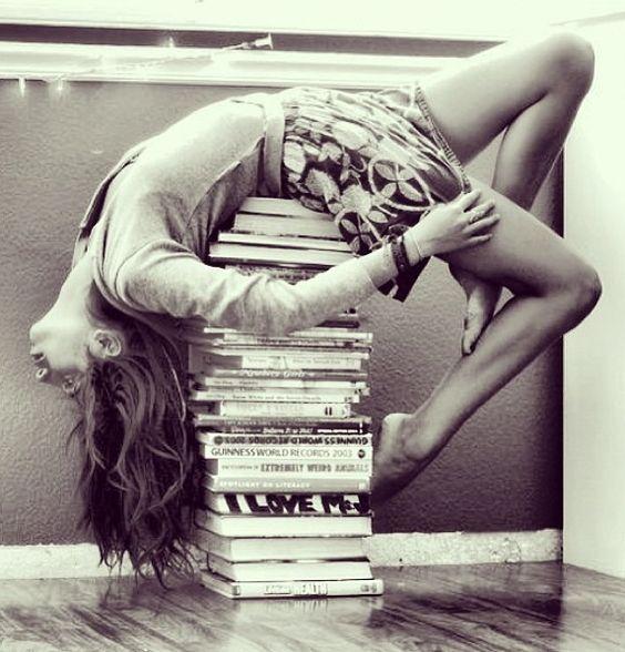 balancing on books