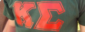 Kappa Sigma letters proudly worn on a shirt