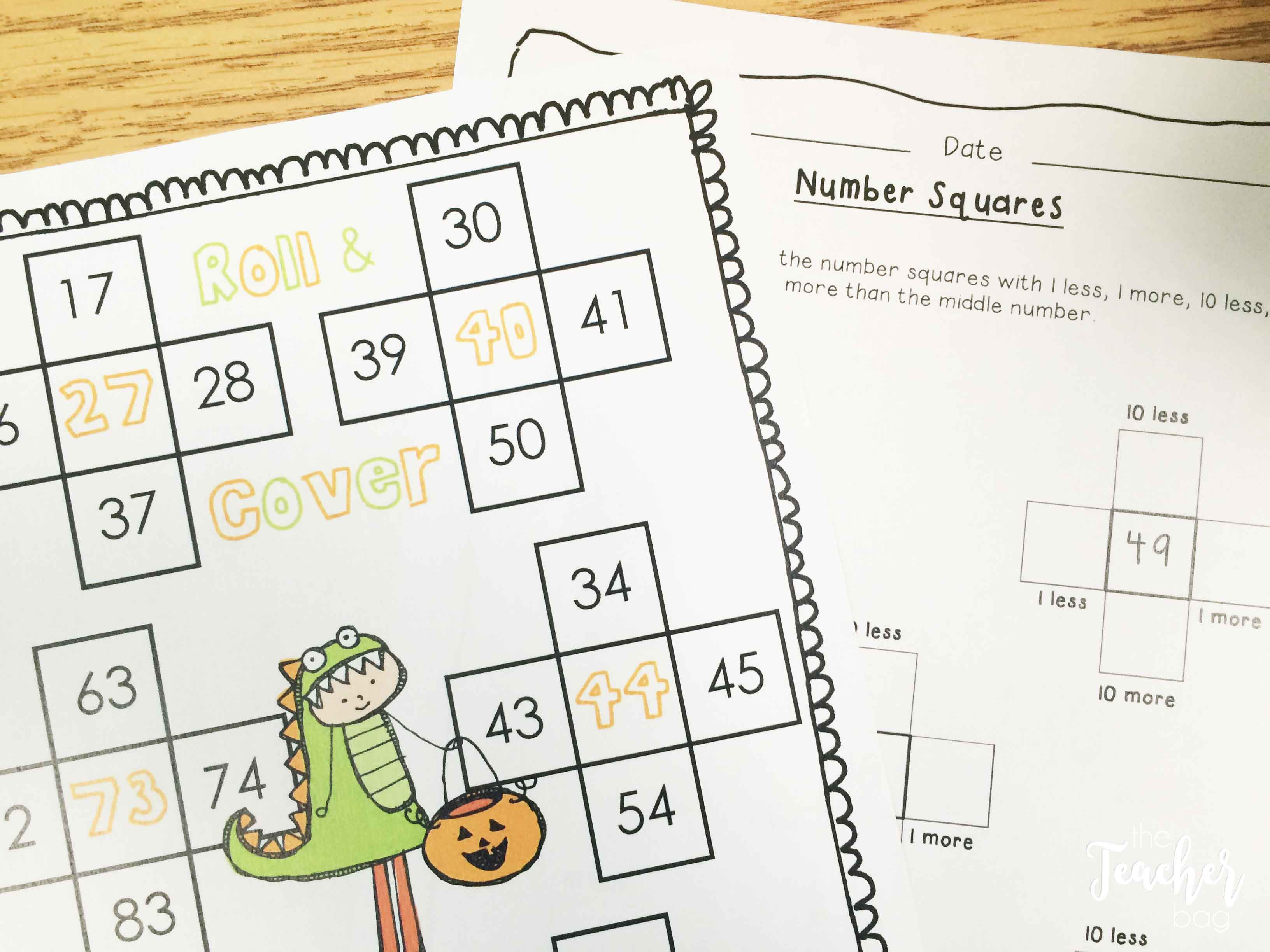 Halloween math- roll and cover