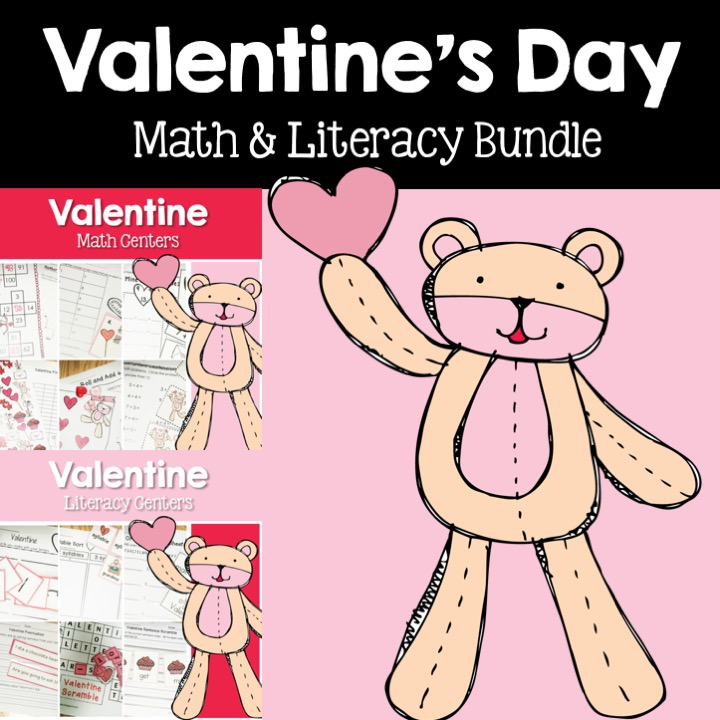 Valentine's Day math and literacy center bundle