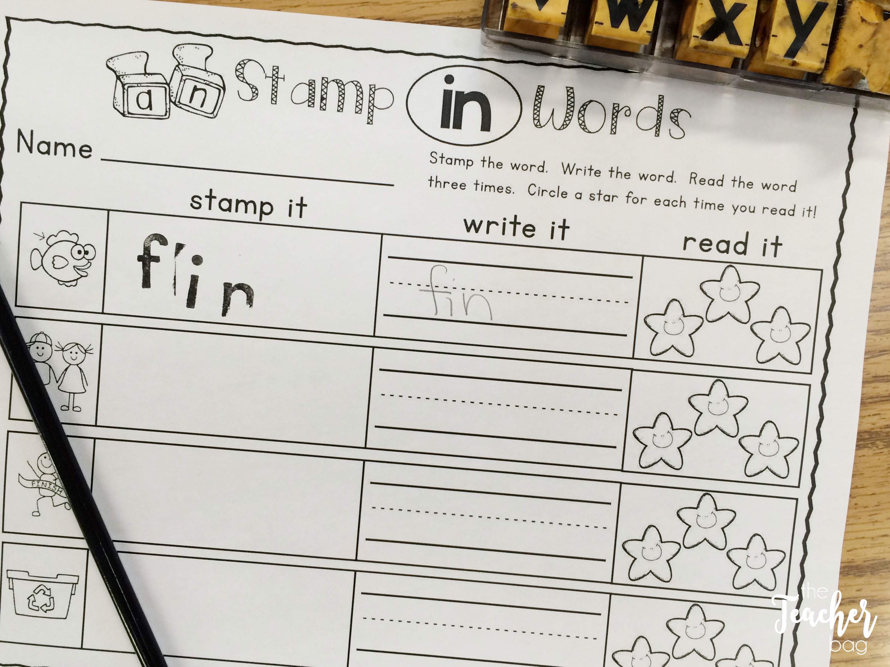 stamping out word family words