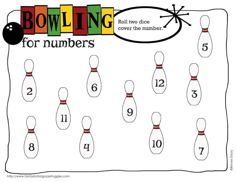 50th day of school - bowling for numbers