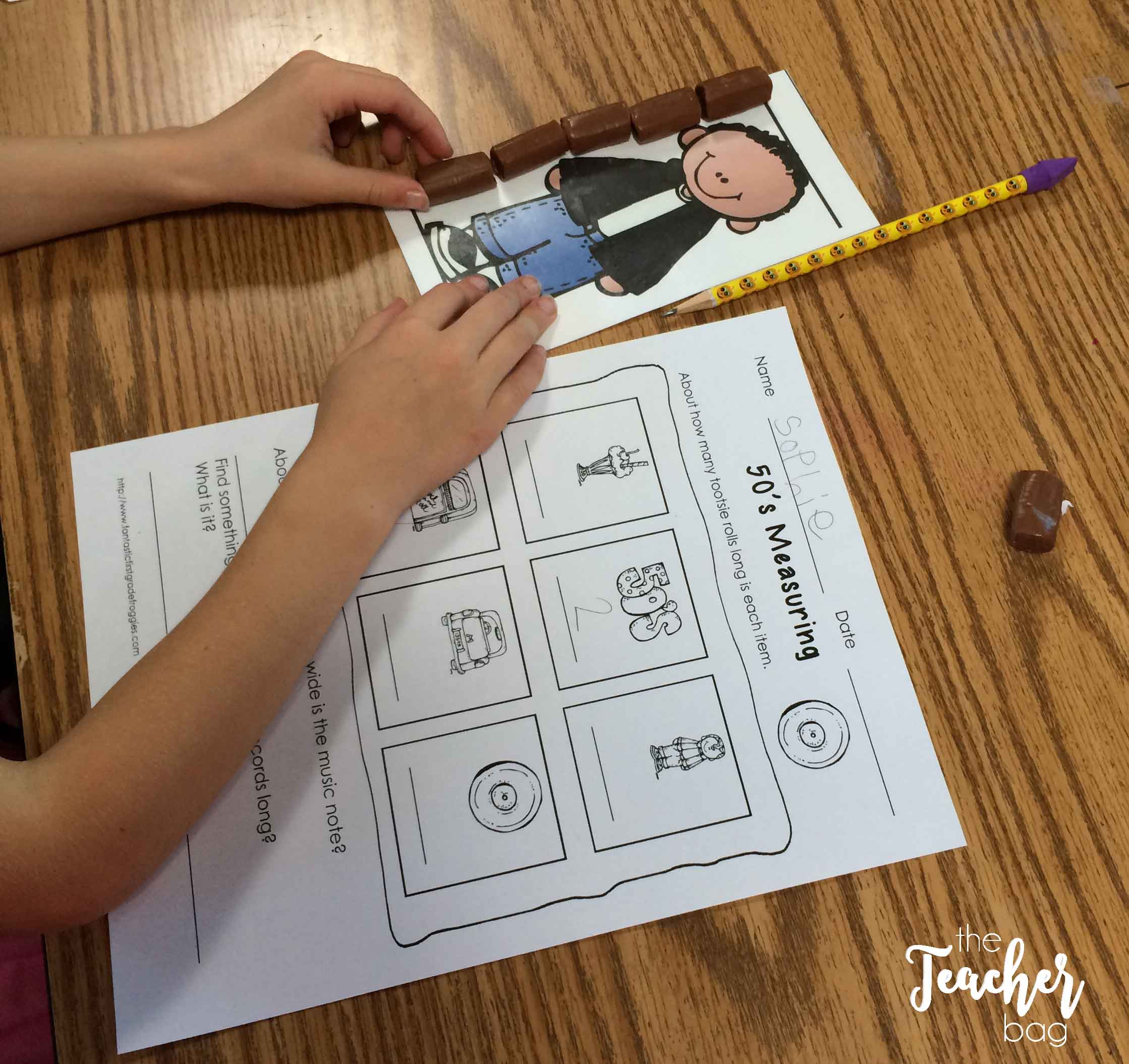 50th day of school- tootsie roll measuring
