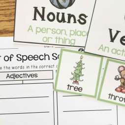 Christmas centers- nouns, verbs and adjectives sort