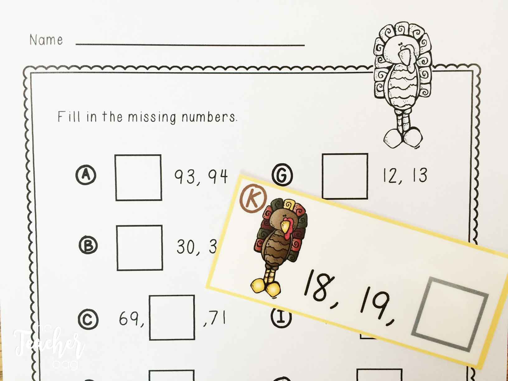 Thanksgiving math centers- missing numbers