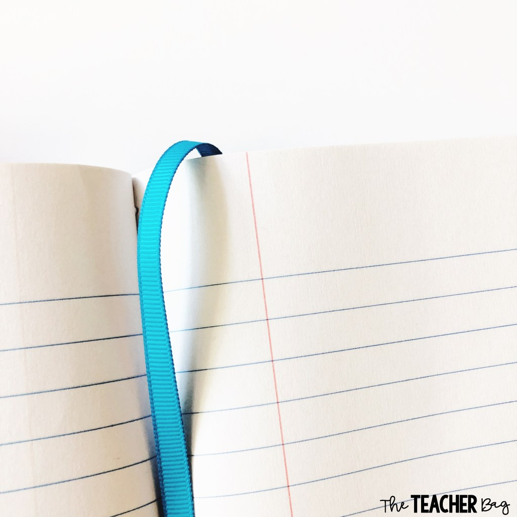 add a ribbon to a composition notebook for a bookmark