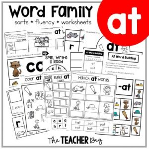 collage of word family activities