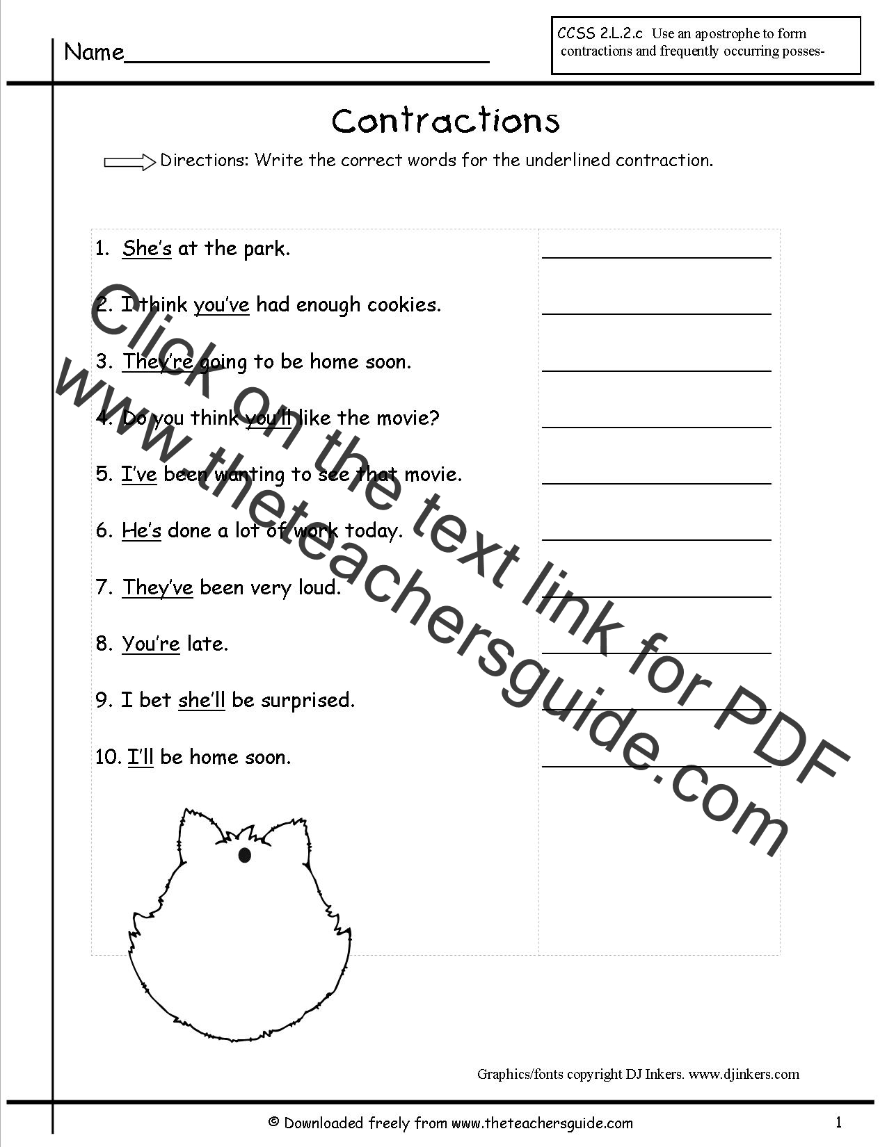 Contractions Worksheets From The Teacher S Guide
