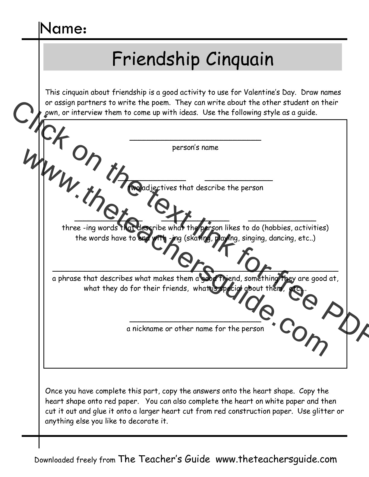 Cinquain Poems Worksheets From The Teacher S Guide