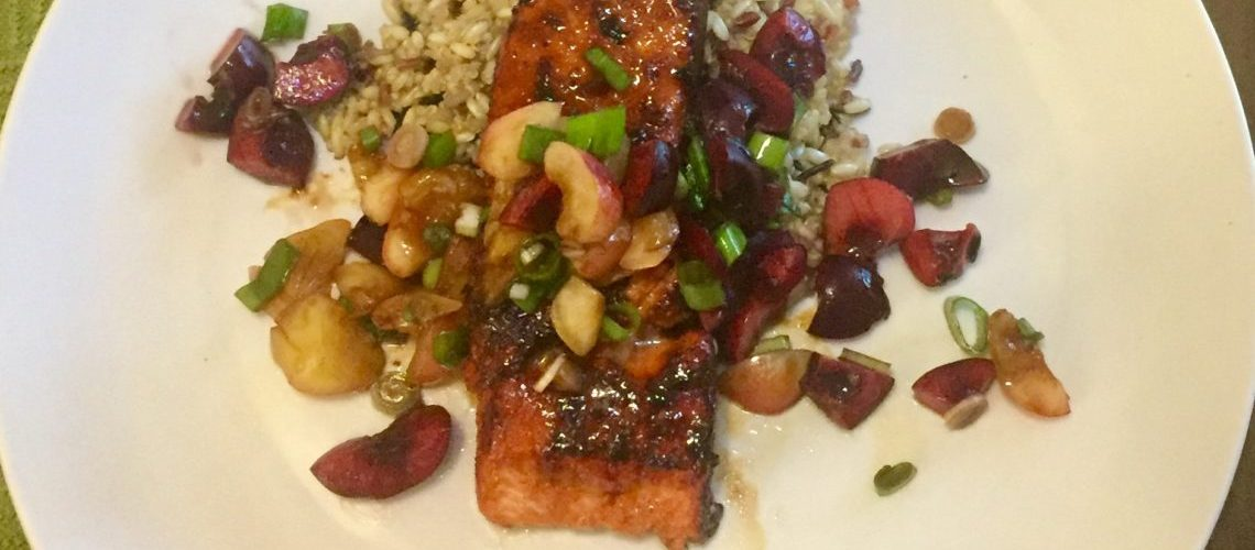 Sugar and Spice Salmon with Cherry Relish