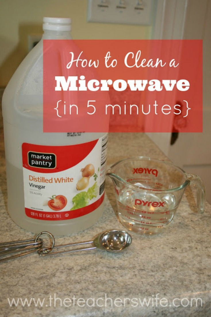 Check out this trick to clean a microwave in 5 minutes.  It's so easy!