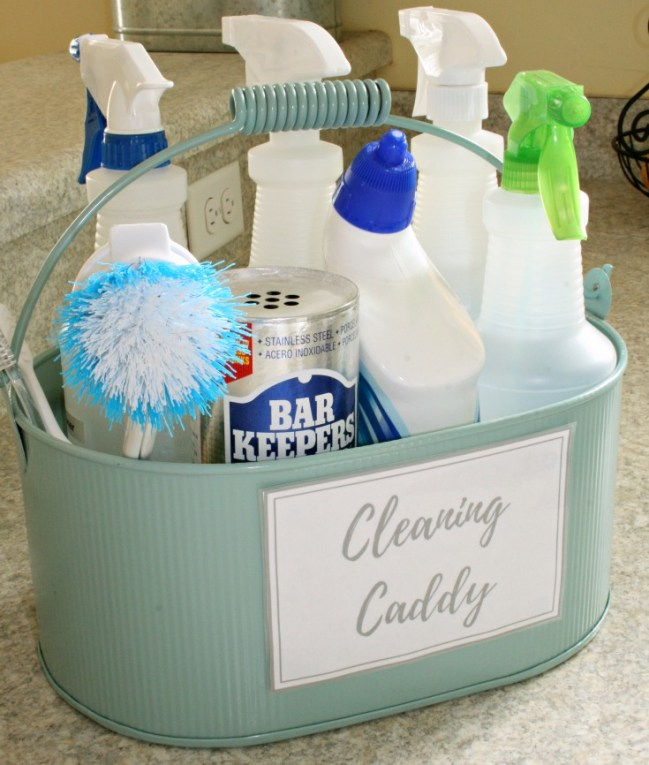 If you take a few minutes to create a cleaning caddy, your supplies are organized and ready to go when you need them!