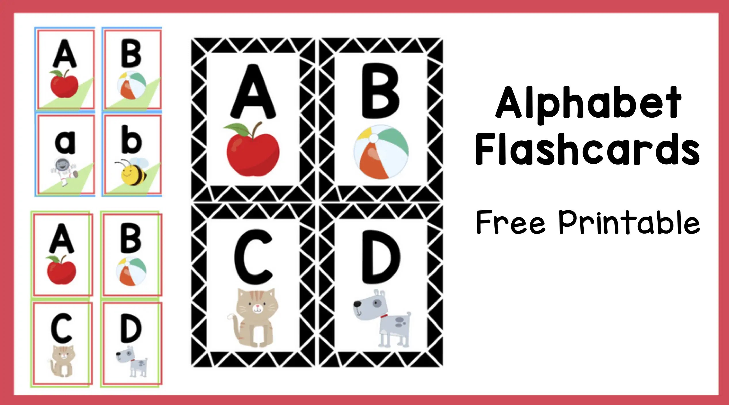 image relating to Printable Toddler Flash Cards called Alphabet Flashcards Cost-free Printable - The Instruction Aunt