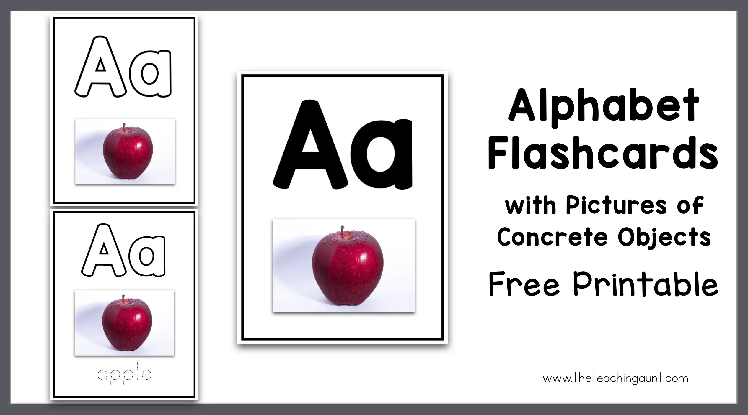 graphic regarding Free Printable Alphabet Flash Cards named Alphabet Flashcards with Pics of Concrete Products - The